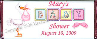 Baby Shower Girl Candy Wrapper  1- Front
