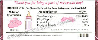 Baby Shower Girl Candy Wrapper - Back