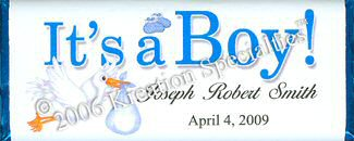 """It's A Boy"" Candy Bar Wrapper - Front"